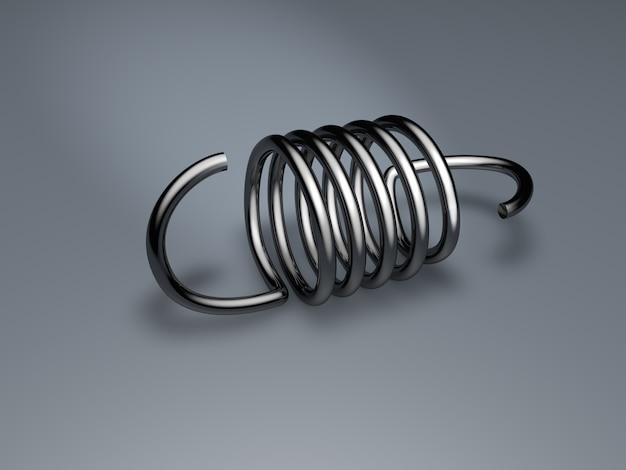 Rendu 3d du ressort mécanique en acier avec crochets