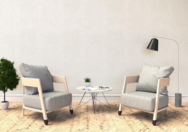 Rendu 3d du salon moderne intérieur