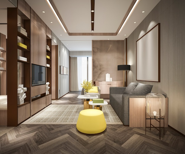 Rendu 3d du salon moderne de luxe