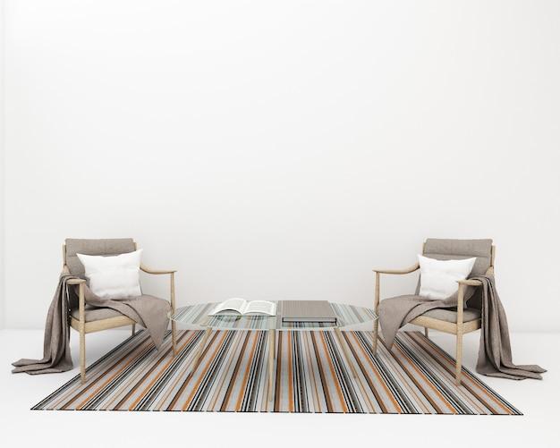 Rendu 3d du salon en studio et tapis couleur pastel