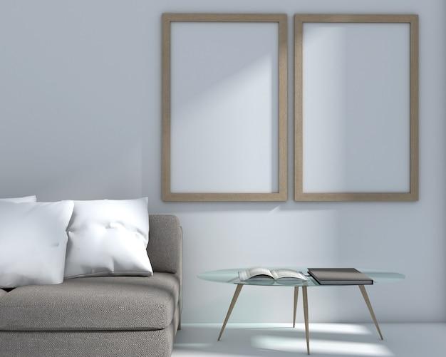 Rendu 3d du salon style et cadre photo modernes