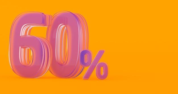 Rendu 3d du signe de pourcentage de verre transparent soixante pour cent 60%, 60% de verre soixante pour cent sur un fond coloré.