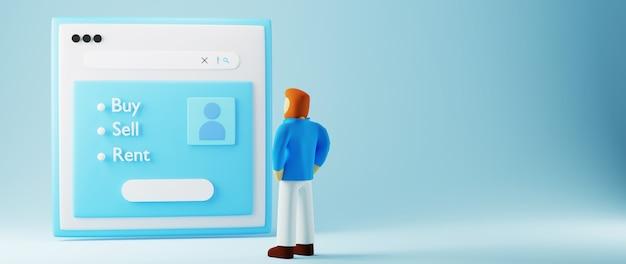 Rendu 3d du site web et d'un homme. affaires en ligne et commerce électronique sur le concept de magasinage en ligne. transaction de paiement en ligne sécurisée avec smartphone.