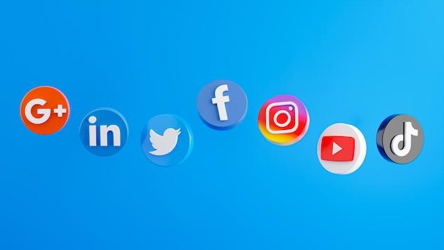 Rendu 3d du smartphone avec l'icône des médias sociaux sur le podium