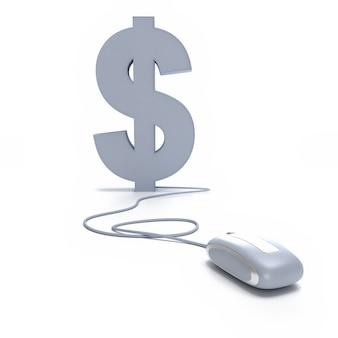 Rendu 3d du symbole dollar connecté à une souris d'ordinateur