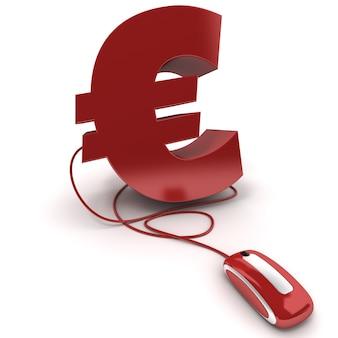 Rendu 3d du symbole de l'euro connecté à une souris d'ordinateur