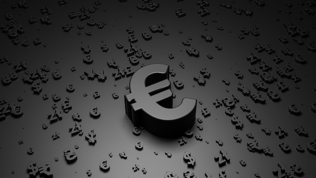 Rendu 3d du symbole de l'euro sur une surface noire