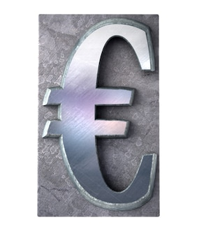 Rendu 3d du symbole monétaire du dollar en impression dactylographiée métallique