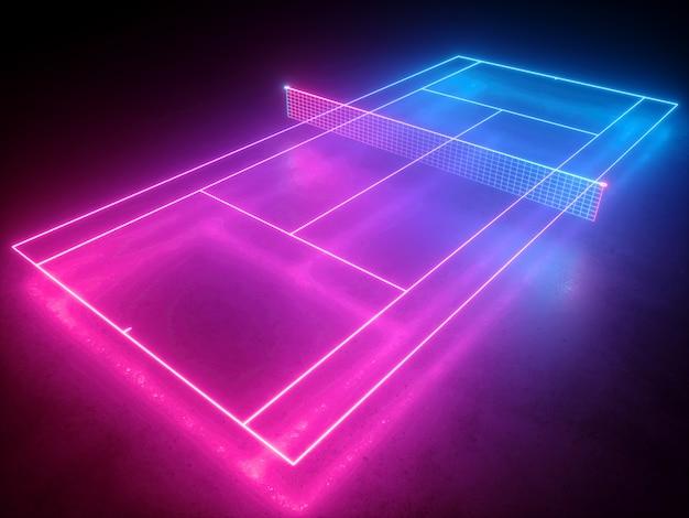 Rendu 3d du système de court de tennis au néon avec vue en angle de perspective pour le terrain de jeu de sport virtuel net