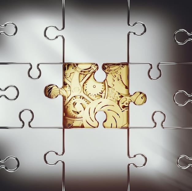 Rendu 3d du système d'engrenage doré recouvert d'un puzzle. concept de coopération entre systèmes