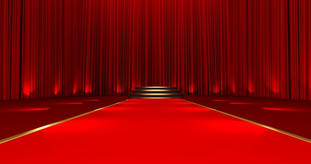 Rendu 3d du tapis rouge sur le podium rond avec des étapes. tapis rouge dans les escaliers sur fond de soie rouge.