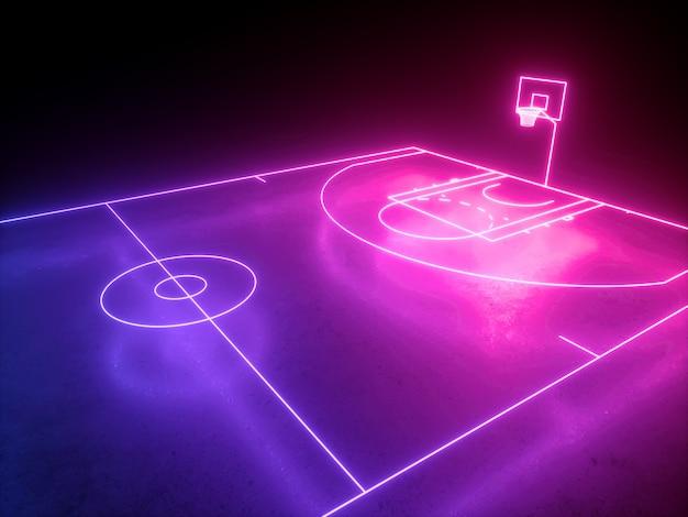 Rendu 3d du terrain de basket-ball au néon angle vue latérale aire de jeux de sport virtuel