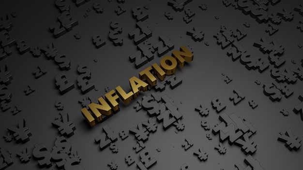Rendu 3d du texte d'inflation métallique doré sur fond sombre de la monnaie.