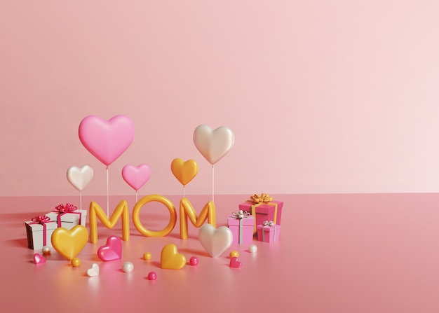 Rendu 3d du texte de maman, des coffrets cadeaux et des coeurs sur fond rose clair
