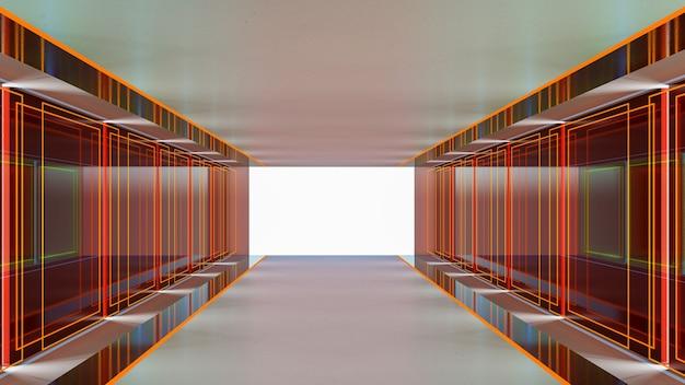 Rendu 3d du thème de science-fiction abstraite dans un style géométrique, éclairage abstrait dans le couloir