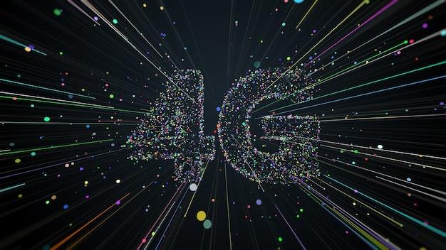 Rendu 3d du titre 4g composé de particules et de traînées qui se propagent depuis le centre de l'écran. communication technologique rapide.