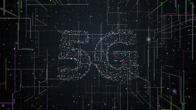 Rendu 3d du titre 5g composé de particules et de traînées qui se propagent depuis le centre de l'écran. communication technologique rapide.