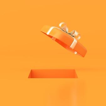 Rendu 3d du trou carré avec boîte-cadeau ouverte sur fond orange.