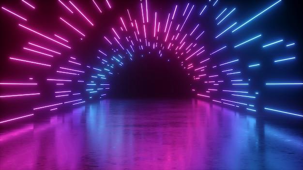 Rendu 3d du tunnel néon abstrait