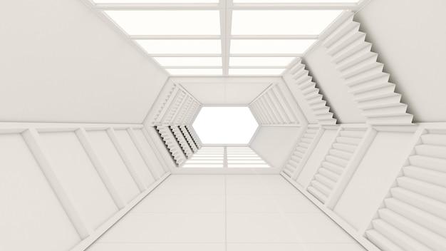 Rendu 3d du tunnel et de la porte hexagonale