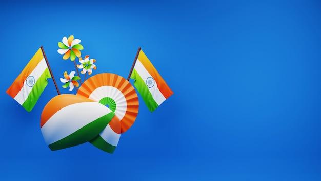 Rendu 3d du turban tricolore indien avec insigne en papier ou fleur, drapeaux nationaux, moulinets et espace de copie sur fond bleu.