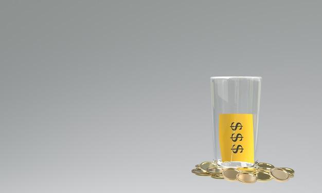Rendu 3d du verre avec des dollars
