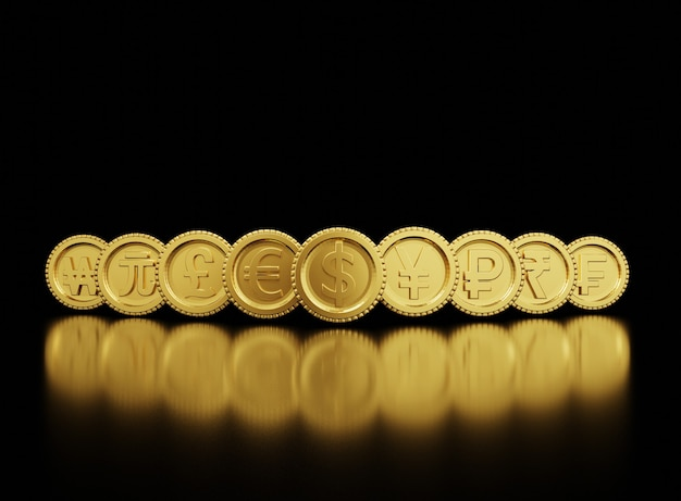 Le rendu 3d de l'échange de pièces en monnaie d'or comprend le dollar yen pound euro yuan won dans le monde sur fond noir et espace de copie, le trading forex et le concept d'investissement.