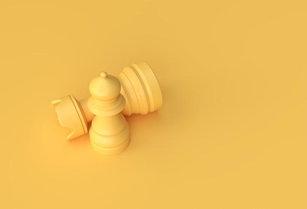 Rendu 3d d'échecs réalistes isolé sur fond jaune pastel illustration design.
