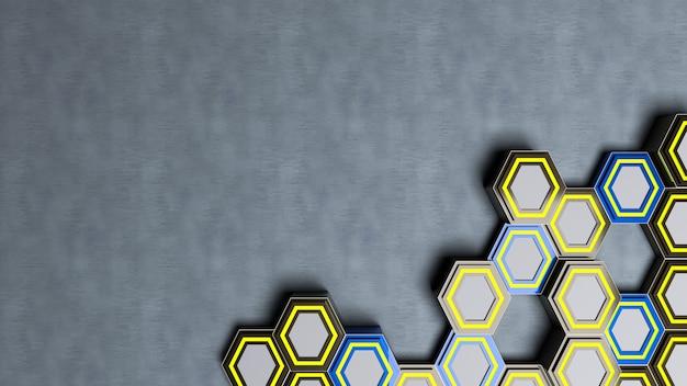 Rendu 3d de l'éclairage abstrait en arrière-plan, forme hexagonale