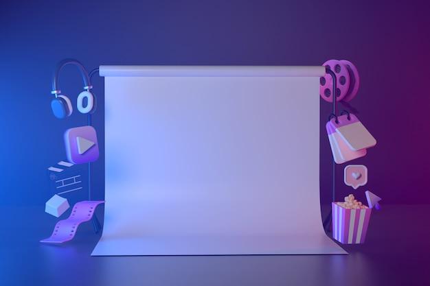 Rendu 3d de l'écran blanc et abstrait géométrique.