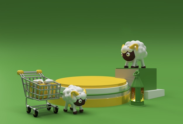 Rendu 3d eid mubarak scène de scène de podium minimale pour l'affichage des produits concept de conception de l'événement de vente islamique eid al adha.