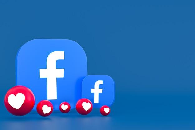 Rendu 3d d'emoji de réactions de facebook, symbole de ballon de médias sociaux avec le modèle d'icônes de facebook