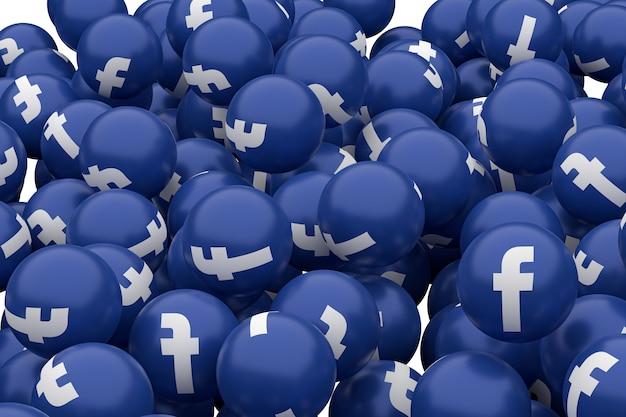 Rendu 3d emoji symbole facebook, symbole de ballon de médias sociaux