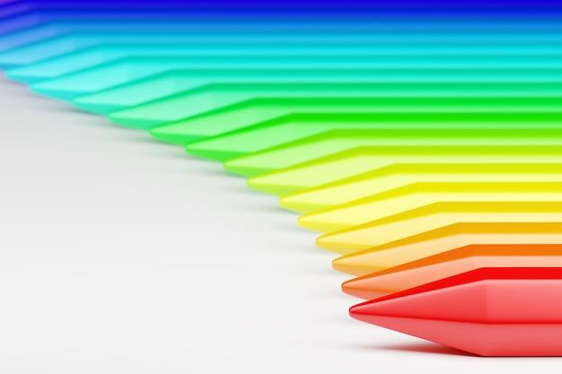 Rendu 3d un ensemble de beaux crayons de couleur arc-en-ciel sur un fond blanc isolé.
