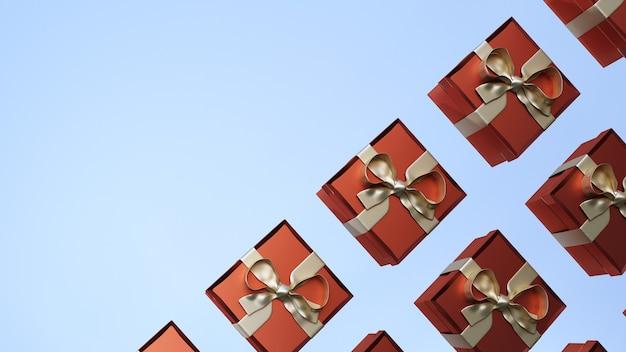 Rendu 3d. ensemble de boîte-cadeau. collection cadeau réaliste présente sur fond bleu clair