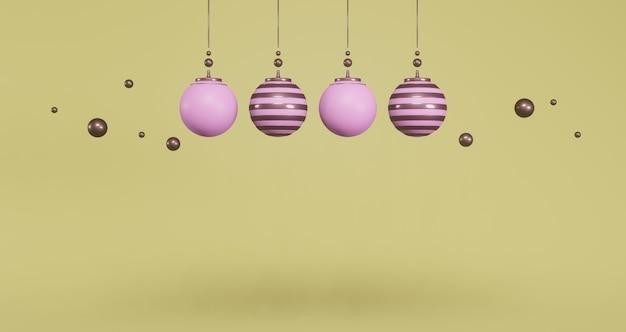 Rendu 3d. ensemble de boules de noël roses sur fond jaune. concept minimal abstrait