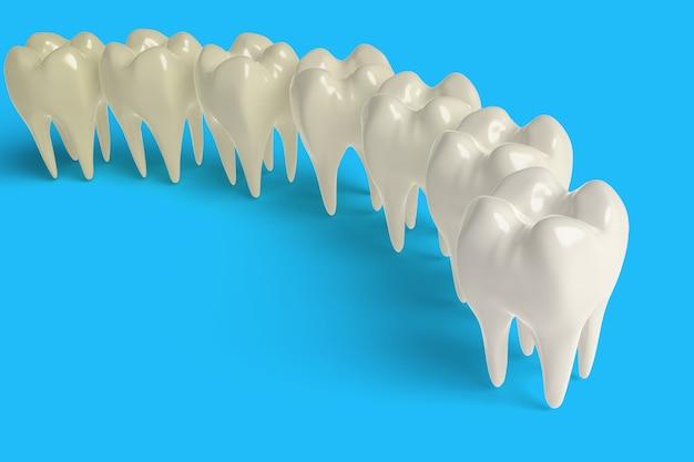 Rendu 3d ensemble de réaliste dent propre et sale, processus de dent propre, blanchiment des dents