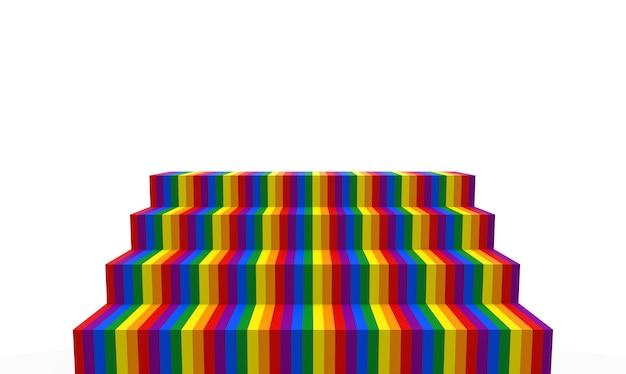 Rendu 3d. escalier de couleur arc-en-ciel lgbt sur fond de mur espace copie blanche.