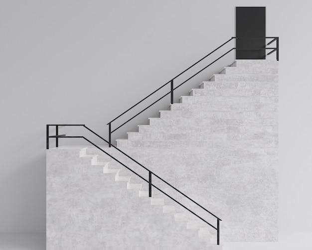 Rendu 3d escalier étape bâtiment style minimal