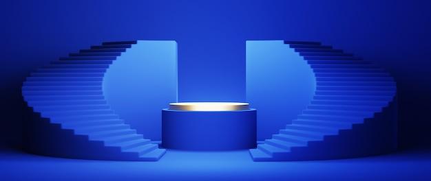 Rendu 3d des escaliers bleus et du podium sur le backgruond bleu