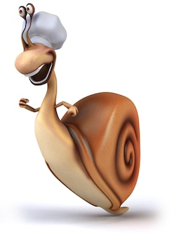 Rendu 3d d'escargot drôle