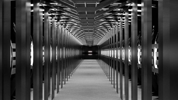 Rendu 3d espace abstrait science-fiction futur couloir couloir