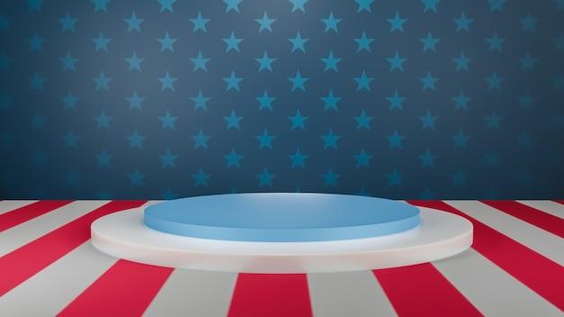 Rendu 3d étape d'affichage du produit aux états-unis pour la présentation
