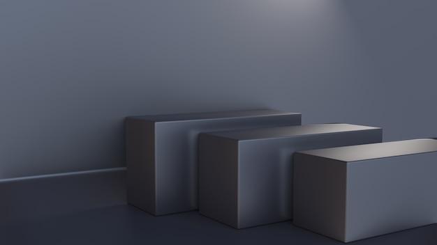 Rendu 3d de l'étape de cube avec couleur grise