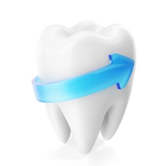 Rendu 3d étincelant de dents blanches isolées sur fond blanc. concept de dent de soins dentaires.