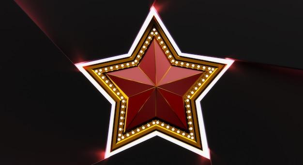Rendu 3d d'étoile d'or avec des lumières isolées sur fond noir.