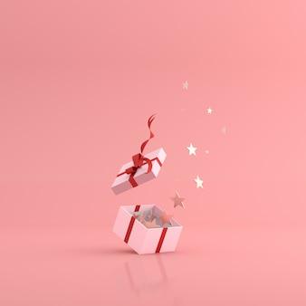 Rendu 3d d'étoiles dorées flottant dans une boîte cadeau.