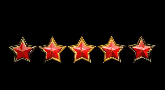 Rendu 3d d'étoiles d'or avec des lumières isolées sur fond noir.