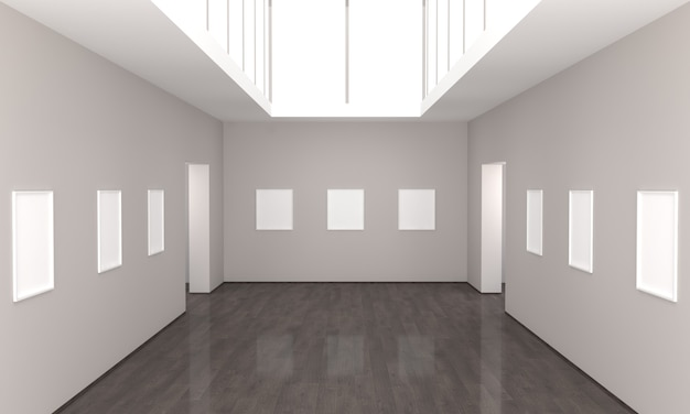 Rendu 3d d'une exposition de galerie d'art