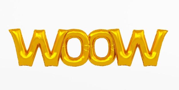 Rendu 3d de l'expression de ballon en feuille d'or wow